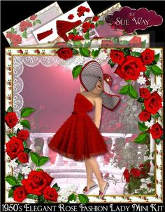 An elegant 1950's style lady, in a beautiful red frilled lace, flared dress and a big spotty hat. She is framed by lace and plump deep red roses. This stunning mini kit makes an 8-inch square card & includes 3 sheets, the card front & 5 matching greeting tags a sheet of easy to cut out decoupage layers and a matching insert, to make a very special card.The tag greetings are: Happy Birthday, Best Wishes, Happy Birthday Daughter, Happy Birthday Mum, With Love and one left blank for ...