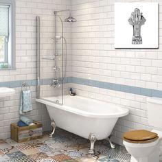 1710mm Victoria Traditional Roll Top Shower Bath & 6mm Screen - Dragon Feet