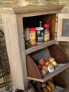 Vegetable Storage Cupboard Kitchen Cabinet of by backyardwoodshop I love this cabinet on ETSY.COM