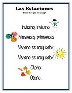 Teach the seasons in Spanish with this cute song, four corners game, and student practice activities. Learn Spanish and have fun!♥ Full preview available.