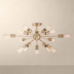 "Possini Euro Hemingson 26""W Gold 15-Light LED Ceiling Light"