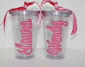 My mom and I were just talking about personalizing some cups for the kiddos. Perfect timing, these are super cute     Set of 3 Personalized Acrylic Tumblers with straw - Bridesmaid gift, Teacher gift, Hostess gift. $42.00, via Etsy.