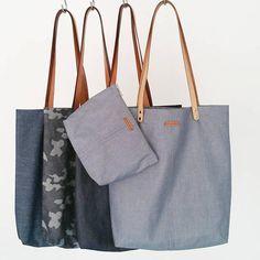 Denim Tote Bag - Metal Zipper Organizer Bag Present - Handmade Bag - Genuine Leather Handle - Canvas Bag - Shoulder Shopper Bag