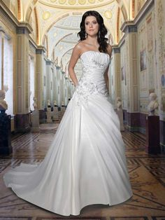 Taffeta A-Line Gown With Straight Strapless Neckline Waist and The Back Of The Bodice Wedding Dresses