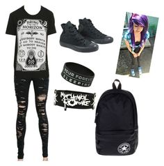 """""""first day of school outfit :)) #emo"""" by whit3girlswag ❤ liked on Polyvore featuring Hot Topic and Converse"""