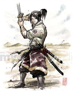 Mongol samurai by MyCKs on DeviantArt Ninja Warrior, Samurai Warrior, Character Concept, Character Art, Character Design, Karate, Kung Fu Martial Arts, Samurai Artwork, Creepy Drawings