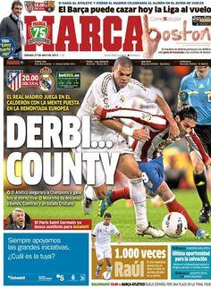 Derbi county | La portada del 27 de abril de 2013 Real Madrid Manchester United, English Football League, Derby County, Athletic, Football Team, Baseball Cards, City, News, Sports