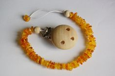 Items similar to Amber pacifier clip, natural baltic amber and wooden beads dummy clip, pacifier holder, can be personalized, handmade dummy and teether clip on Etsy Nursing Necklace, Dummy Clips, Pacifier Holder, Amber Necklace, Teething Toys, Natural Baby, Baltic Amber, Wooden Beads, Crochet Baby