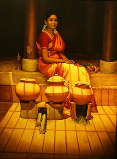 Tamil girl sit & relax after cooking - Painting by S. Elayaraja