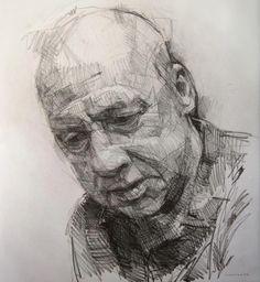 Colin Davidson - Study of Mark Knopfler 3  2012  crayon on paper  62 x 57 cm