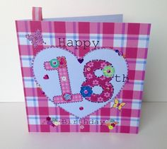Birthday Card, Special Age,Pinks,Printed Design,Handfinished,Can Be Personalised £1.95