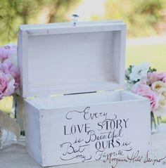 Wedding Card Box Shabby Chic Decor Vintage Inspired Hand Painted Keepsake Box