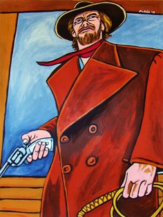 """HIGH PLAINS DRIFTER ORIGINAL PAINTING man cave art-western movie clint eastwood colt cowboy. 22x30"""" ACRYLIC PAINTING on heavy art paper. This """"READY TO FRAME"""" painting will be professionally packed and shipped in a sturdy mailing tube, insured via USPS Priority Mail. I am John Froehlich the artist. My vibrant colored artwork will become a focal point and conversation piece in your home, man cave, business or office!-I have sold thousands of paintings and commissioned portraits of famous..."""