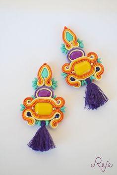 """Colorful Collection s/s 2015 -Reje- """"Taormina"""" gipsy soutache earrings  ETSY SHOP: https://www.etsy.com/shop/Rejesoutache?ref=hdr_shop_menu  Facebook page: https://www.facebook.com/rejegioielliinsoutache  Website: www.rejesoutache.com"""
