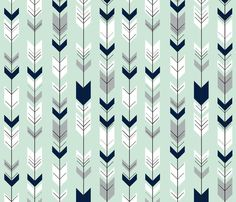 Fletching arrows // Northern Lights - Mint fabric by littlearrowdesign on Spoonflower - custom fabric Baby Boy Crib Bedding, Baby Boy Rooms, Aztec Pattern Wallpaper, Fabric Design, Print Design, Arrow Fabric, Arrow Nursery, Iphone Background Wallpaper, Binder Covers