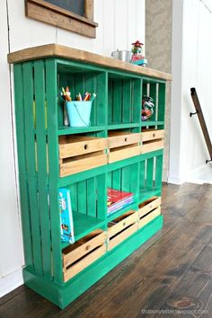 Cute crate storage project perfect for the mudroom, craft room or kids playroom.