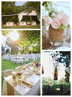 Outdoor rustic wedding ideas.  just replace the burlap with something equally rustic that causes less sneezes.