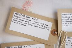 Wedding day facts printed on luggage tags to entertain wedding guests.  Photography by http://imagesinfocus.co.uk/