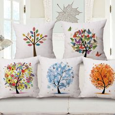 Fashion High Quality Cotton Linen African Plant Tree of Life Car Decorative Throw Pillow Case Cushion Cover Sofa Home Decor
