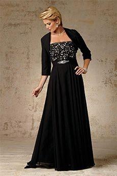 A-Line/Princess Strapless Floor-length Chiffon Mother of the Bride Dress
