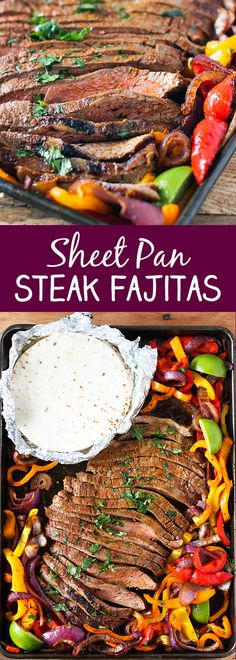 Sheet Pan Steak Fajitas -Tender seasoned flank steak with colorful onions and bell peppers all cooked together on one sheet pan. Restaurant quality fajitas you can have it on the table in about 30 minutes. Flank Steak Tacos, Steak Fajitas, Steak Fajita Recipe, Flank Steak Recipes, Easy Steak Recipes, Beef Recipes, Cooking Recipes, Marinade Steak, Vegan Recipes