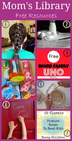 Moms Library Resources for moms by moms, 10 Second Hair Accessory, 10 Quicker Cooking Tips, Kids handmade wrapping paper kits, Free Printable Uno Game, Crochet Baskets for kids, Hidden front door sign, Favorite classic books for kids