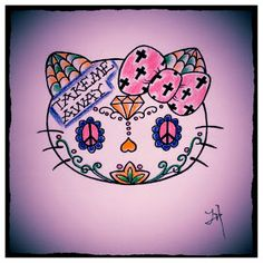 Jessie Hansen Tattoo: Hello Kitty Sugar Skull Sugar Skull Wallpaper, Sugar Skull Artwork, Sugar Skull Tattoos, Sugar Skulls, Hello Kitty Halloween, Sunflower Nails, Tattoo Stencils, Rock Crafts, Skull And Bones