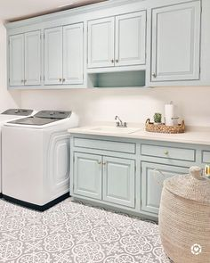 One of the cleanest laundry rooms we have ever seen 💛. You can truly spruce up any room in your home, even the laundry room 🤩🤩🤩 (via @pinterestingplans). Click the image to try our free home design app.  (Keywords: laundry room ideas, laundry room decor, small room decor, laundry room organization, laundry room colors, laundry room shelf, small laundry room ideas dream home, home decor ideas, diy home decor, laundry room makeover) Laundry Room Shelves, Small Laundry Rooms, Peel And Stick Floor, Laundry Room Inspiration, Small Room Decor, Living Room Shop, Wood Counter, Refrigerator Freezer, Interiors