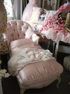 Beautiful pink satin chaise