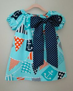 Toddler Girl Peasant Dress with large bow - Nautical Bunting. Polka Dot Bow.  Perfect for Fourth of July.  www.littleseahorseshop.etsy.com