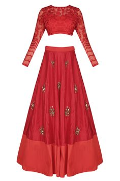Astha Narang presents Red pearl and sequins flower motifs lehenga set available only at Pernia's Pop Up Shop. Dress Indian Style, Indian Outfits, Indian Clothes, Ethenic Wear, Bollywood Fashion, Bollywood Style, Half Saree Designs, Pernia Pop Up Shop, Indian Couture