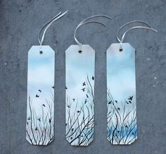3 Bookmarks Originals watercolors birds on by SilviaCairol on Etsy, €15.00