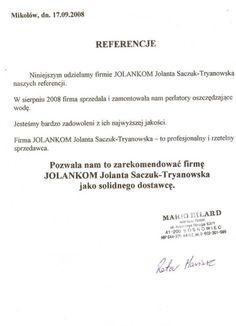 Referencja od firmy Mario Bilard Mariusz Roter