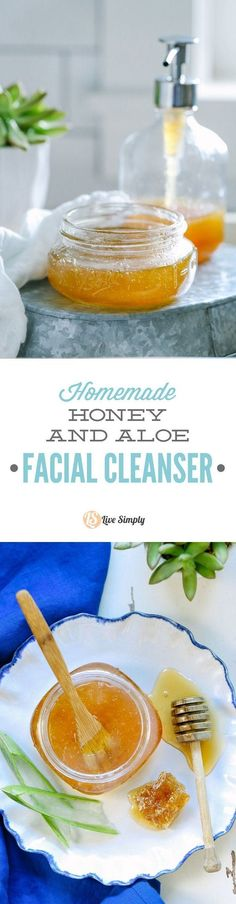 Homemade Honey and Aloe Facial Cleanser #facialcleanserhomemade