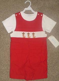 42300c610943f NWT Vive La Fete Rudolph Reindeer Christmas Red Smocked Shortalls 4T   ViveLaFete  Everyday