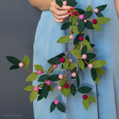 Felt Berry Branches - Lia Griffith <br> Make your own felt berry branches with our straightforward set of instructions and photo tutorial. The felt forest fun never ends! Felt Flowers, Diy Flowers, Fabric Flowers, Paper Flowers, Felt Flower Wreaths, Flower Ornaments, Diy Ornaments, Beaded Ornaments, Glass Ornaments