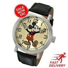 """Disney Men's 56109 """"Vintage Mickey Mouse"""" Watch with Black Leather Band  http://ift.tt/2DenXLQ #Jewelry #Watches #Parts #Accessories #Wristwatches #Disney #Men's #56109 #""""Vintage #Mickey #Mouse"""" #Watch #with #Black #Leather #Band  #diehoinstore"""