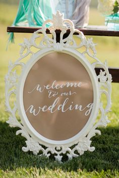 #frames #welcome #sign Photography by katelynjames.com Read more - http://www.stylemepretty.com/2013/09/11/charlottesville-wedding-from-katelyn-james/