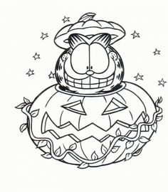 You're going to need a lot of orange to colour in this Garfield Halloween pumpkin colouring page - enjoy! This site has of Halloween coloring pages - printa dozen and staple them into a Halloween colouring book! Great as a favour for Halloween Parties! Pumpkin Coloring Pages, Fall Coloring Pages, Cat Coloring Page, Cartoon Coloring Pages, Adult Coloring Pages, Coloring Pages For Kids, Coloring Books, Free Coloring, Kids Coloring