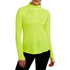 Danskin Now Women's Performance 1/4 Zip Jacket with Mesh Details, Size: XS, Yellow