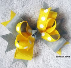 Yellow and Grey Multi Layer Boutique Bow  M2M by BabyABows on Etsy, $4.50
