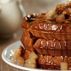 Looking for the perfect Sunday morning #recipe? Feast on these heavenly Gingerbread Waffles with a Pear-Walnut Compote