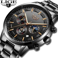 cbe6b8d35eb Mens Watches LIGE Top Brand Luxury Men s Chronograph Date Waterproof Quartz  Watch Men s Fashion Business Watch Relogio Masculino.