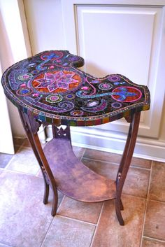 SOLD Art Nouveau antique Mosaic table mosaic by NikkiEllaWhitlock