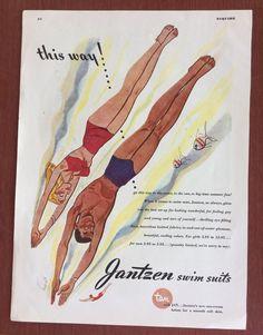 VINTAGE 1945 JANTZEN SWIMSUIT AD ESQUIRE FASHION ART PRINT MEN WOMEN SUMMER
