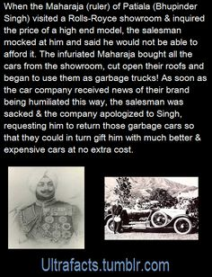 """Maharaja visits Rolls Royce showroom, gets insulted because salesman """"judged a book by its cover"""", what happens next makes Dark Side History."""