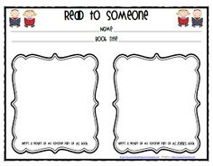 Lil Country Librarian: Read to Someone Response Sheet {Freebie}