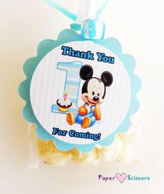 "Baby Mickey 1st birthday ""Thank You"" favor bag tags"