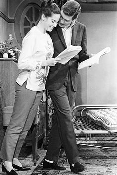 "Mary Tyler Moore and Dick Van Dyke during a rehearsal for the episode ""Honeymoons Are For the Lucky"" [1964]"