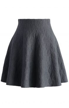 Grey Embossed Knitted Skater Skirt - Retro, Indie and Unique Fashion